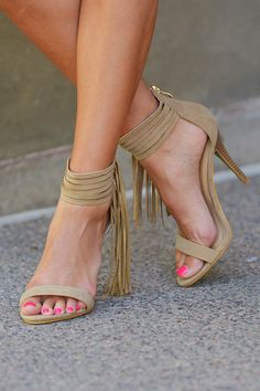 Take A Chance Fringe Heels - Beige from Closet Candy Boutique