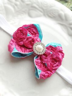 Hot Pink n' Blue Rosette Ribbon Hair Bow headband - Pearl Rhinestones Babies Toddlers Girls Shabby Chic Photography Prop. $14.99, via Etsy.