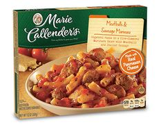 Frozen Dinner Favorites. Meatballs & Sausage Marinara. Marie Callender box.