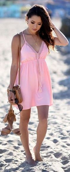 Coral Summer Dress                                                                             Source
