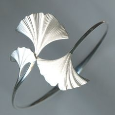 Sterling silver ginkgo leaf hinged bangle bracelet. Beautiful! Available at Argo & Lehne Jewelers.