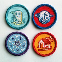 Alternative Scouting for Girls and Boys Merit Badge - Set 1 FULL SET OF 4  Based on a comic strip from my Threnodies book, this is the first set of