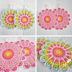 Color 'n Cream: Rainbow Heaven - beautiful crochet colors Crochet Hot Pads, Crochet Diy, Crochet Home, Love Crochet, Crochet Motif, Crochet Crafts, Crochet Doilies, Crochet Flowers, Crochet Projects