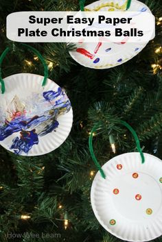 The easiest of all Christmas ornaments for kids!  These paper plate Christmas balls are great for kids of all ages.  www.HowWeeLearn.com