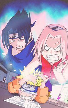 Sasuke Sakura y Naruto Naruto Kakashi, Naruto Team 7, Naruto Shippuden Sasuke, Anime Naruto, Naruto Sasuke Sakura, Manga Anime, Gaara, Naruto Funny Moments, Images Kawaii