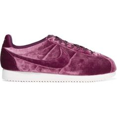 Nike Classic Cortez Premium velvet sneakers found on Polyvore featuring shoes, sneakers, nike, grip shoes, low top, lacing sneakers, nike footwear and velvet sneakers