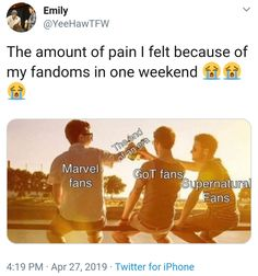 Well excuse me while I cry I love marvel and I'm OBSESSED with supernatural I don't think I can live without marvel and supernatural Whoever made this is literally metatron I'm crying Marvel Memes, Marvel Avengers, Sam Winchester, The Maxx, Fandom Crossover, Fandoms Unite, Destiel, Humor, Marvel Cinematic Universe