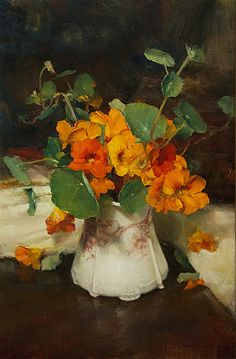 Nasturtiums by John McCartin ( b. 1954, New South Wales, Australia) Oil ~ 56cm x 36cm