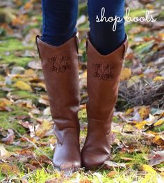 NEW Monogrammed Western Style Riding Boots - Available in FOUR colors