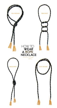 how to, style, wear, rope necklace, chain tassel, 4 ways