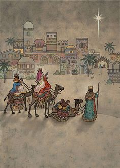 Kings to Bethlehem - christmas card design by Jane Crowther, Bug Art