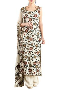 Shop Nakul Sen Off white chiffon embroidered palazzo set , Exclusive Indian Designer Latest Collections Available at Aza Fashions Simple Pakistani Dresses, Indian Dresses, Indian Outfits, Salwar Suits Simple, Embroidery Suits, Embroidery Fashion, Red Lehenga, Lehenga Choli, Anarkali