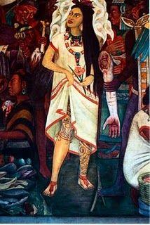detail of rivera's murals at the palacio nacional in mexico city - la malinche - my leg tattoo inspiration since 2003