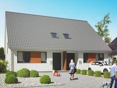 Realistische 3D Visualisierung eines Doppelhauses. Hier in der Vorderansicht.