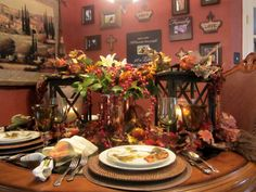 NO link to follow, lovely fall table decor.  Love the wall color in the back ground as well.