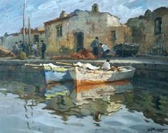 Buono Leon Giuseppe (Pozzuoli, NA 1887 - 1975) Banchina olio su masonite, cm 40x50
