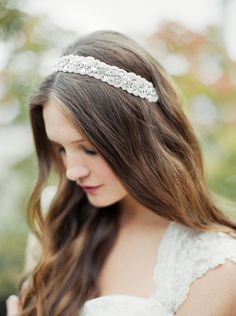 """Show us the little details that inspire your #wedding day style! Enter the """"It's All in the Details"""" Pinterest Sweeps for a chance to win a $500 David's Bridal gift certificate! Enter now: http://sweeps.piqora.com/inthedetails Rules: http://sweeps.piqora.com/fb/contest/content/davidsbridal.com/616/rules  David's Bridal Crystal and Beaded Bridal Headband with Ribbon Tie Style H9044"""