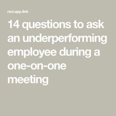 14 questions to ask an underperforming employee during a one-on-one meeting 14 questions to ask an underperforming employee during a one-on-one meeting,DDP Law! 14 questions to ask an underperforming employee during a one-on-one meeting. Leadership Development, Leadership Quotes, Leadership Activities, Educational Leadership, Leadership Qualities, Teamwork Quotes, Leader Quotes, Professional Development, Women In Leadership