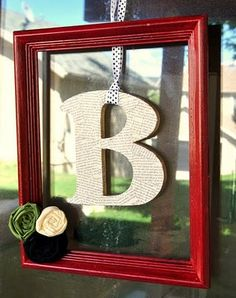 "Made it: framed letter door decor. Looks welcoming; little do you know the B stands for ""Beat it."""