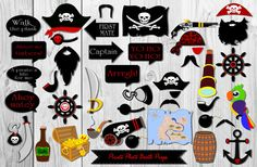 Pirate Photo Booth Props43 Pieces-Instant by HappyFiestaDesign