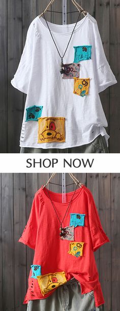 Cartoon Patch Short Sleeve Crew Neck Casual T-Shirt look chipper and natural. NewChic has a lot of women T-shirts online for your choice, believe you will find your cup of tea. Pretty Outfits, Stylish Outfits, Capelet Knitting Pattern, Harem Pants Outfit, Blouses For Women, T Shirts For Women, Indian Bridal Lehenga, Casual T Shirts, Crew Neck