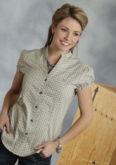 Roper® Ladies Khaki Print Short Sleeve V-Neck Button Western Shirt
