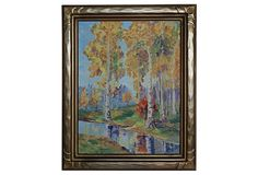 Autumn Trees, Unsigned. Presented in a giltwood and gesso frame.