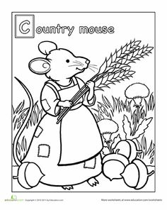 Kids can color in this sheet of the Country Mouse, a character from Aesop's classic fable about the joys of simple living. This coloring sheet might also give you the opportunity to talk to your preschooler about the names of nearby cities and towns. Free Disney Coloring Pages, Minnie Mouse Coloring Pages, Free Coloring Sheets, Online Coloring Pages, Alphabet Coloring Pages, Cool Coloring Pages, Coloring Books, Printable Coloring, Colouring