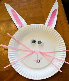 Easter Crafts - bunny made onto a white paper bag for egg hunt