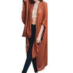 Rust Open Front Frayed Trim Kimono Cardigan Slouch Oversized Boho Chic USA  #Unbranded #Cardigan