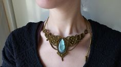 Victorian steampunk macrame necklace with by AbstractikaCrafts