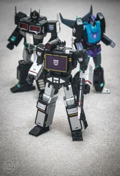Transformers Masterpiece MP-10B Black Convoy, MP-13B Soundblaster and MP-09B Black Rodimus Convoy