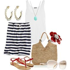 Navy Stripe Skirt and Straw Purse-Just Looking Makes You Think Of Summer :)