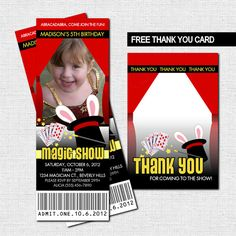 MAGIC SHOW TICKET PARTY INVITATIONS + BONUS THANK YOU CARD (Printable)  Unique printable invitations for your little birthday boy or girl! *Text will