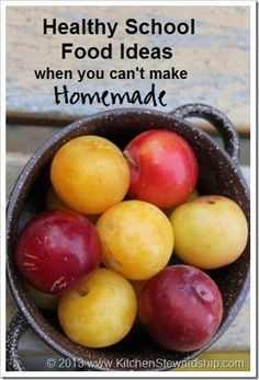 Tons of healthy snack ideas for when you can't bring homemade foods to school but have to have an ingredient list