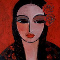 """Saatchi Art Artist Nelly Van Nieuwenhuijzen; Painting, """"Braids and roses"""" #art"""