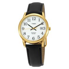 Timex T2H291 Men's Easy Reader White Dial Black Leather Strap Gold Tone Stainless Steel Watch