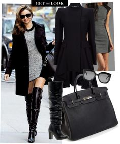 """""""A short skirt and a looong jacket"""" oh, and tall boots. Beck almost had it, but Miranda Kerr nailed it. I love it all for fall! """"Miranda Kerr Style"""" by keebepom on Polyvore"""