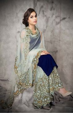 Buy Cyan georgette embroidery semi stitiched salwar with dupatta party-wear-salwar-kameez online Pakistani Outfits, Indian Outfits, Pakistani Fashion Party Wear, Pakistani Wedding Dresses, Bollywood Fashion, Indian Attire, Indian Wear, African Attire, African Dress