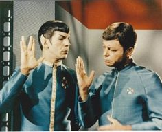 Instructing the Doctor on how to do the Vulcan salute ... it's not working. ~ Journey to Babel
