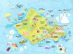 Illustration map of Oahu Island
