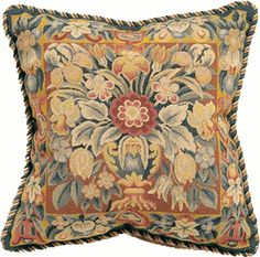 Urn with Flowers on Rust Needlepoint Pillow