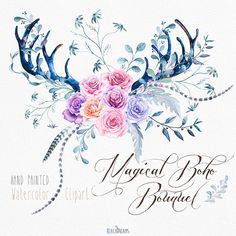 Watercolor Clip Art Antlers Roses Flowers Feathers por ReachDreams