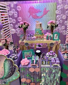 23 Clever DIY Christmas Decoration Ideas By Crafty Panda Mermaid Birthday Cakes, Little Mermaid Birthday, Little Mermaid Parties, Mermaid Party Decorations, Birthday Party Decorations, Birthday Parties, 17 Birthday, Birthday Wishes, Barbie Birthday