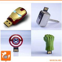 THE AVENGERS Fan dei super eroi più cool del cinema? Ecco degli interessanti gadget per voi... chiavette USB di Iron Man, Thor, Capitan America e Hulk. Dove acquistarle? Su Fancy