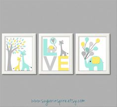 Aqua, yellow and grey Nursery Art Print Set, giraffe, balloons, Children Wall Art - Tree, love, baby elephant, aqua, gray, yellow
