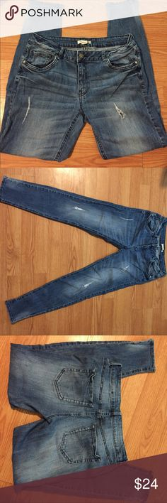"""F21 Distressed Skinny Jeans Medium whisker wash distressed (ripped, holes) skinny jeans from Forever 21 in very good condition! Inseam is approximately 28 1/2"""". Rise from the front is 8 1/2"""", back is 13 1/2"""". Material tag is unavailable but I'd say it's mostly cotton, with a little spandex/stretch. Check out the rest of my closet and bundle for an awesome deal! Forever 21 Jeans Skinny"""