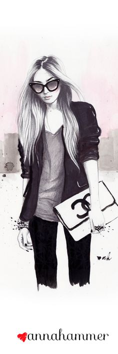 "Chanel Inspired fashion Illustration ""Back In Black"" by anna hammer"