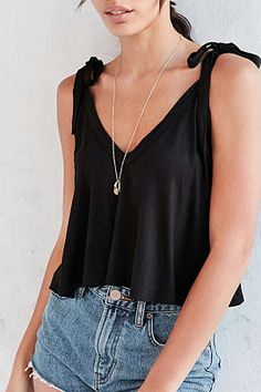 Women Cotton Bowknot Strap Vests V Neck Summer Backless Top Tees Shirts Cute Fall Outfits, Pretty Outfits, Backless Top, Camisole, My Outfit, Chiffon Tops, Casual Wear, V Neck, Clothes For Women