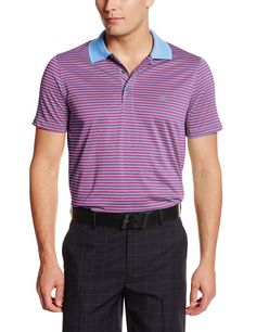76c6e47f65e845 This great looking mens short sleeve feeder stripe jersey golf polo shirt  by Izod offers UV sun protection and moisture wicking properties